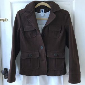 GAP Brown Button Up Wool Coat size XS Like New!